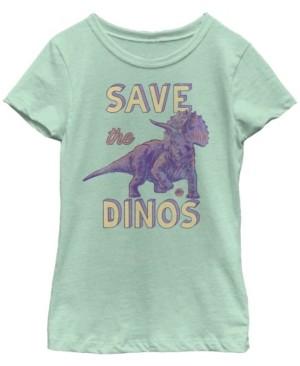 Fifth Sun Jurassic World Big Girl's Save The Dinos Triceratops Short Sleeve T-Shirt