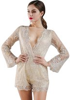 Missord Women's Sexy Deep-V see-through long-sleeve glitter flare playsuit