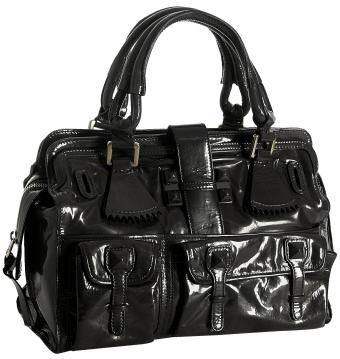 Chloé black patent leather 'Elvire' medium satchel