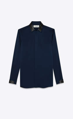 Rive Droite Classic Shirts Silk Satin Shirt With Leather Collar Cobalt Blue 10