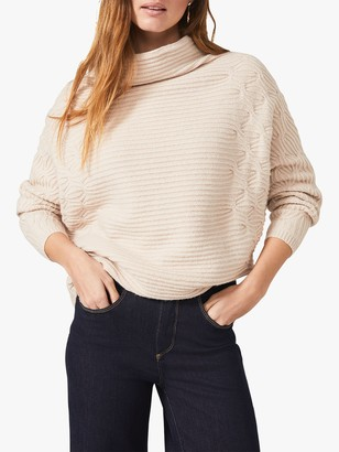 Phase Eight Cataleya Cable Knit Oversized Roll Neck Jumper, Caramel