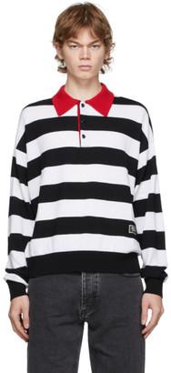 Ami Alexandre Mattiussi Black and White Striped Rugby Polo