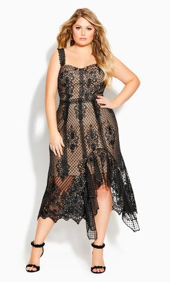 City Chic Glamorous Lace Dress - black
