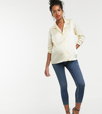 ASOS DESIGN Maternity Petite high rise ridley 'skinny' jeans in extreme dark stonewash blue with under the bump waistba