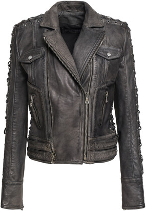 Balmain Lace-up Washed-leather Biker Jacket