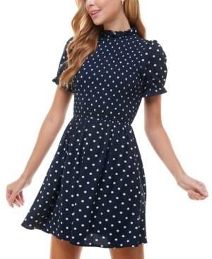 City Studios Juniors' Mock-Neck A-Line Dress