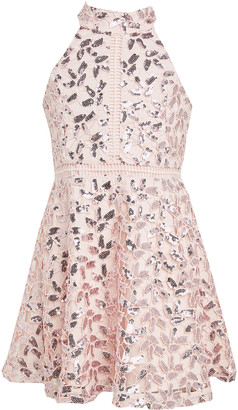 Bardot Junior Girl's Gemma Sequin Lace Halter Dress, Size 7-16