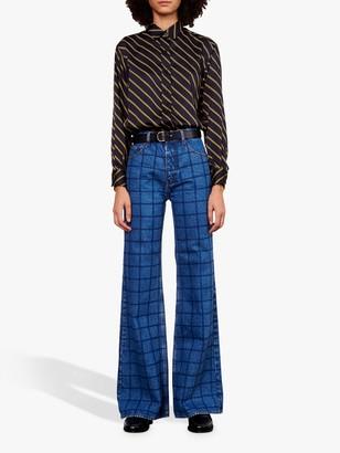 Gerard Darel Leelou Check Wide Leg Jeans, Blue