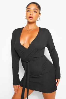 boohoo Plus Rib Wrap Self Belted Bodycon Dress
