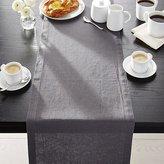 "Crate & Barrel Helena Graphite Grey Linen 90"" Table Runner"