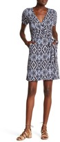 Loveappella Rolled Sleeve Faux Wrap Dress