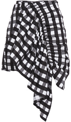 Marques Almeida Asymmetric Ruched Gingham Cotton-jacquard Mini Skirt