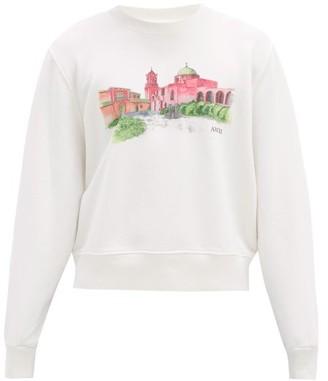Amiri Hotel-print Cotton-jersey Sweatshirt - White