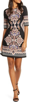 Eliza J Block Print Sheath Dress