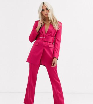 Asos DESIGN Petite satin slim suit trousers-Pink