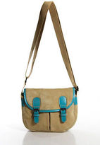 Bric's Brics Tan Light Brown Suede Blue Leather Crossbody Messenger Handbag