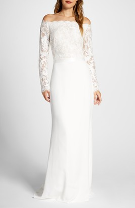Tadashi Shoji Lace & Crepe Long Sleeve Wedding Dress