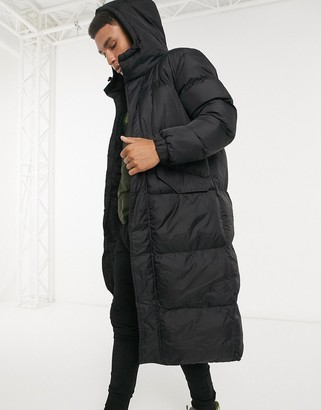 Brave Soul longline puffer jacket in black