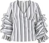 Caroline Constas Athena Striped Wrap Blouse
