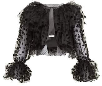 Erdem Stefania Ruffled Flocked-tulle Jacket - Womens - Black