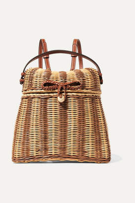 Ulla Johnson Taja Leather-trimmed Rattan Backpack - Beige