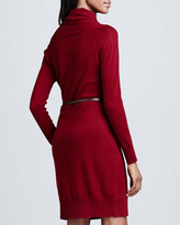 Neiman Marcus Overlap-Collar Cashmere Belted Dress