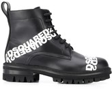 DSQUARED2 logo print lace-up boots
