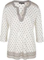 Olsen 3/4 sleeve cotton blouse with tasseled tie