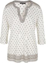 Olsen 34 sleeve cotton blouse with tasseled tie