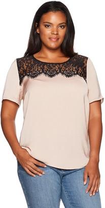 Junarose Women's Plus Size Short Sleeve Lace Detail Blouse