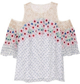 Peter Pilotto Cutout Guipure Lace-trimmed Printed Silk-georgette Top - White