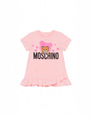 Moschino Dress With Logo And Teddy Bear Unisex Pink Size 3/6m It