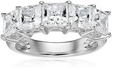 La Lumiere Platinum-Plated Sterling Silver Swarovski Zirconia Princess-Cut 5 Stone Ring (3 cttw), Size S