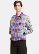 J.w. Anderson Men's Faded Checked Canvas Twill Jacket In Purple