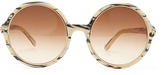 Tom Ford Carrie Striped Round Sunglasses, Ivory/Black