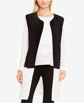 Vince Camuto Cotton Open-Front Colorblocked Cardigan