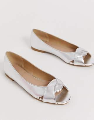 PeepToe Asos Design ASOS DESIGN Leadership ballet flats-Silver