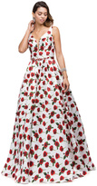 Dancing Queen - Illusion Plunging V-neck Floral Print Dress 9774
