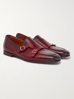 Santoni Burnished-Leather Monk-Strap Shoes