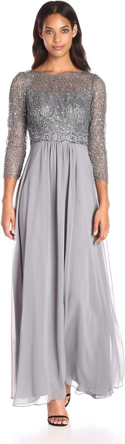 Decode 1.8 Women's 3/4 Sleeve Beaded Illusion Gown with Sequins