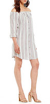 WAYF Rachel Striped Off-the-Shoulder Shirt Dress
