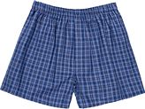 Sunspel Woven Cotton Check Boxers, Navy