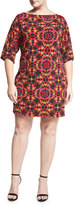 Neiman Marcus Nouveau Floral-Print Sheath Dress, Multi, Plus Size