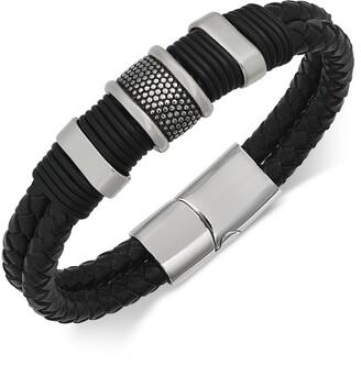 Sutton by Rhona Sutton Men's Stainless Steel & Leather Bracelet