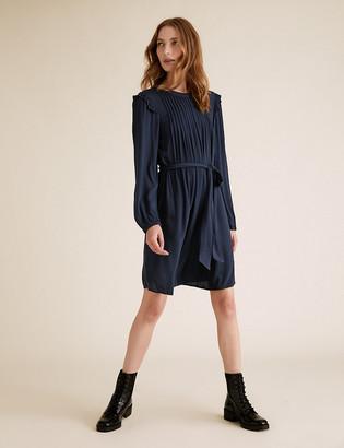 Marks and Spencer Pintuck Belted Knee Length Dress