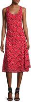 GREY Jason Wu Sleeveless Knee-Length Printed Silk Dress, Red