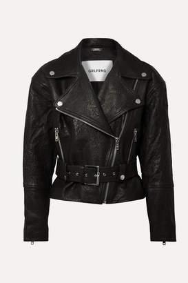 GRLFRND Charlie Crinkled-leather Biker Jacket - Black