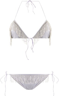 Oseree Fringe-Trimmed Bikini Set