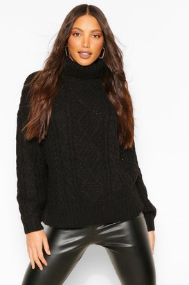 boohoo Tall High Neck Chunky Cable Knit Jumper