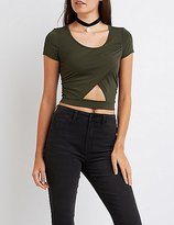 Charlotte Russe Wrapped Cut-Out Crop Top